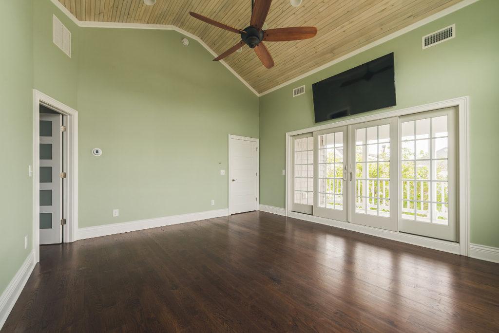Bedroom with deck view