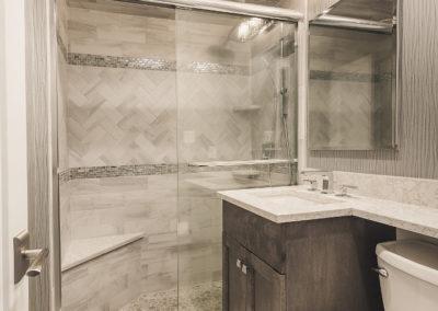 Tiled Shower Area in Bathroom